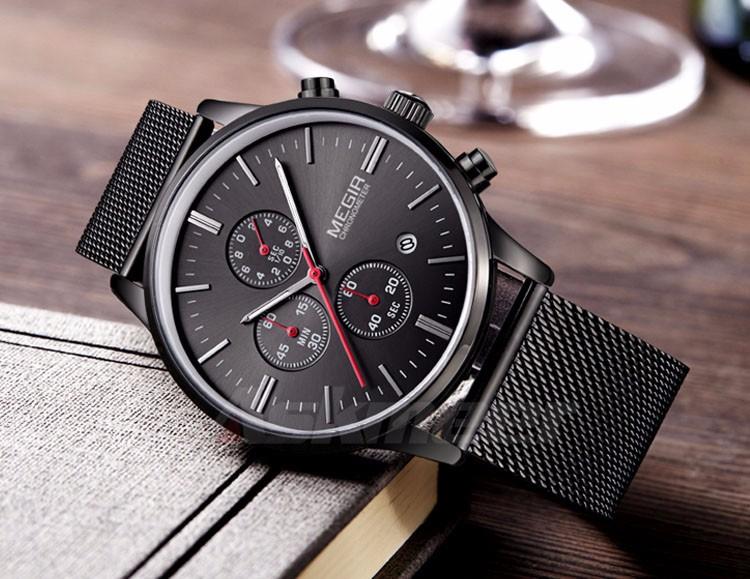 Megir Brand Men's Watch Clock reloj hombre Luxury Stainless Steel Mesh Strap Business Quartz Wristwatch Mens Watches (3)