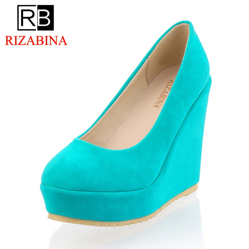 RizaBina CooLcept free shipping high heel wedge shoes women sexy casual fashion pumps P11074 EUR size 34-39 coolcept free shipping genuine leather quality high heel wedge sandals women fashion platform heels sandal r4222 eur size 34 39