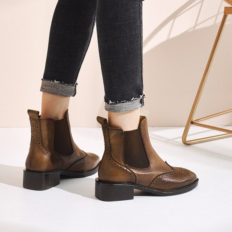 MS bullock martin çizmeler moda rahat kollu kadın ayakkabısı Bahar/Sonbahar kadın ayakkabı Hakiki Deri çizmeler kadın