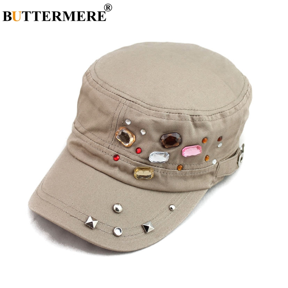 BUTTERMERE Women Military Hats Cotton Khaki Captain Caps Army Female Solid Cute Fisherman Cap Ivy Rivet Autumn Casual Sailor Cap in Women 39 s Military Hats from Apparel Accessories