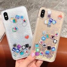 Fashion Dynamic Liquid Quicksand Hard PC Case for iPhone XS Max XR X 6 6S 7 Plus Phone Cases 8 App Capa ipone
