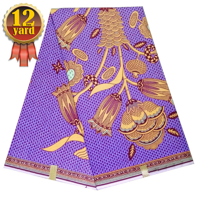 US $95 5 |hitarget wax prints purple ankara fabric african real dutch wax  prints 12yards tissus patchwork high quality L70 -in Fabric from Home &