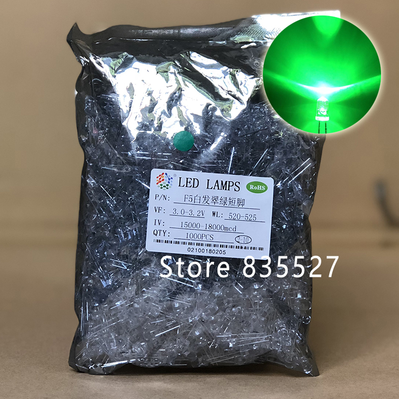 1000pcs / LOT F5 5MM Round LED Water And Clear Emerald Green Super Bright LED Light Emitting Diode Kit DIP Lamp Beads