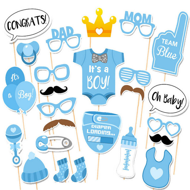 25pcs Baby Shower Photo Booth Props Party Decoration Boy Fun 1st Birthday Gift Wedding Favor PhtotoBooth Supplies