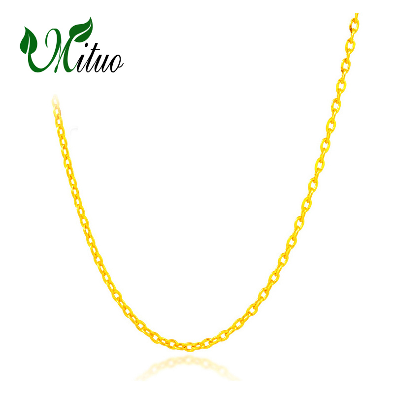 MITUO Genuine 18K White Yellow Rose Gold Chain Cost Price Sale Pure 18K Gold Necklace for love Best Gift For women все цены