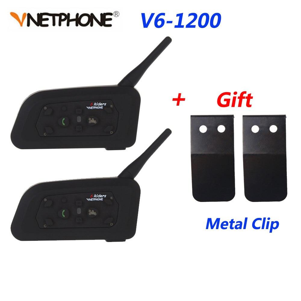 Vnetphone 2 pièces V6-1200M moto Bluetooth casque Interphone pour 6 coureurs Casco talkie-walkie Interphone casque avec Clip en métal