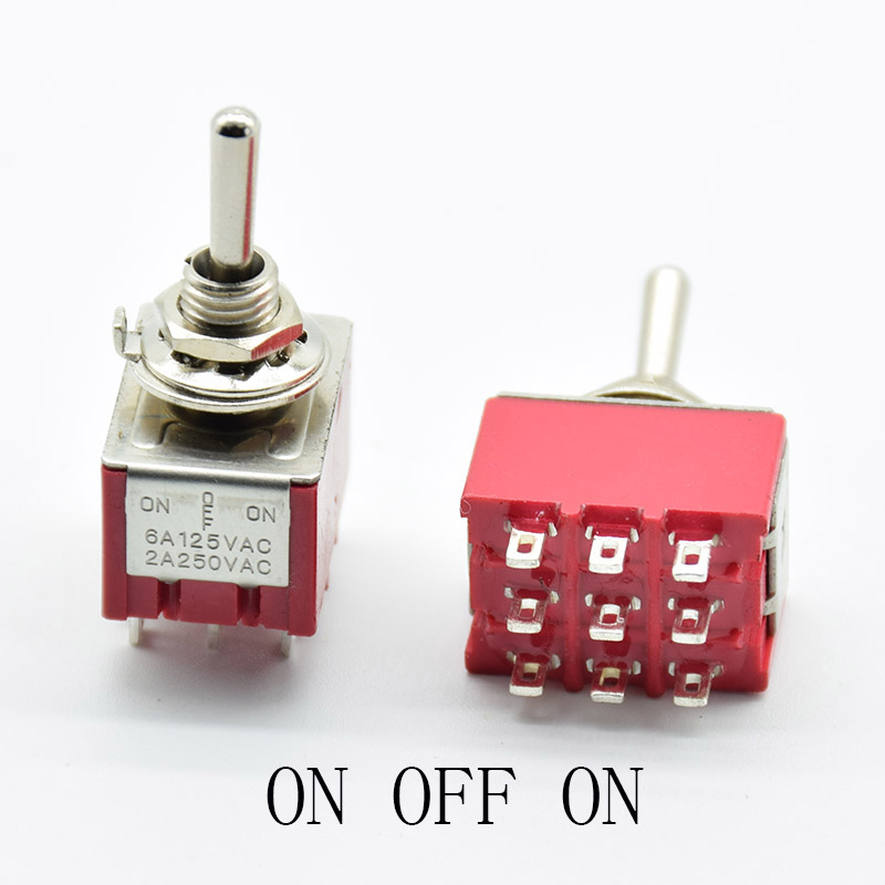 1 PC NEW Red 9 Pins ON-OFF-ON/ON ON 3/2 Position Mini Toggle Switch AC 5A/125V 2A/250V With Solder Terminal waterproof