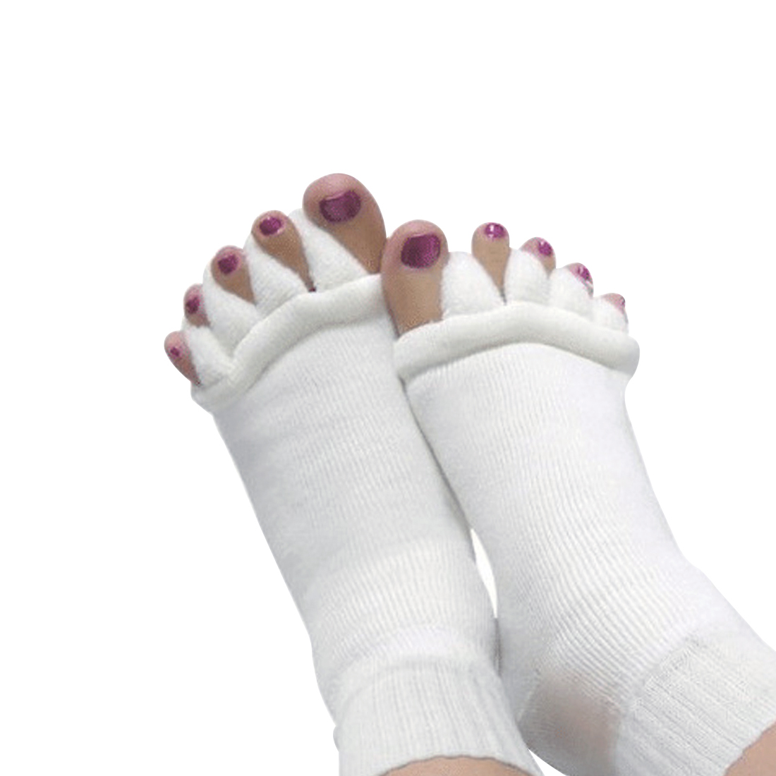 TOP 2PCS Feet Sleeping Massager Foot Alignment Toes Socks Massage Five Fingers Separator Toe Compression Treatment Pain Relief