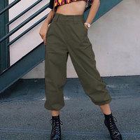 Women Fashion Hip Hop Long Pants Army Green Black Khaki Casual Street Long Trouser High Waist Loose Jogger Pants Girls Ladies