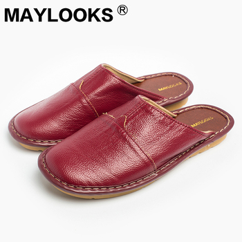 Ladies Slippers Spring And Autumn Genuine Leather Home Indoor Non – Slip  Thermal Woman Slippers 2018 New Maylooks M-8808 bf294e4acb97