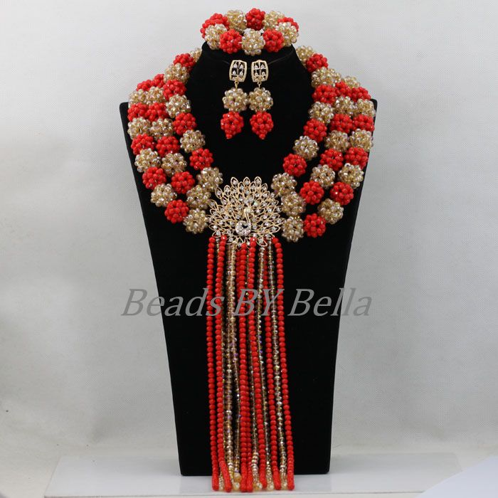 Luxury Big Full Beads Red Gold Nigerian Crystal Beads Balls Necklace Set African Wedding Beads Jewelry Sets Free Shipping ABF870Luxury Big Full Beads Red Gold Nigerian Crystal Beads Balls Necklace Set African Wedding Beads Jewelry Sets Free Shipping ABF870