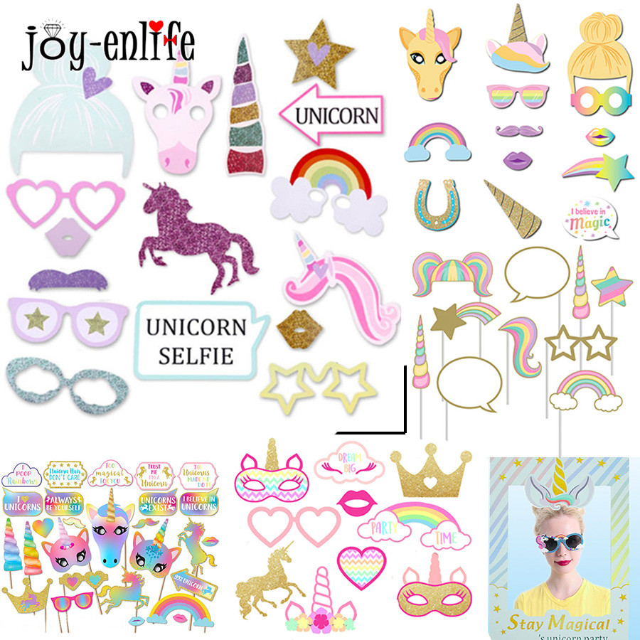 Birthday Unicorn Party Photo Booth Props Photo Mask Funny Accessories Baby Shower Party Supplies Photobooth Props