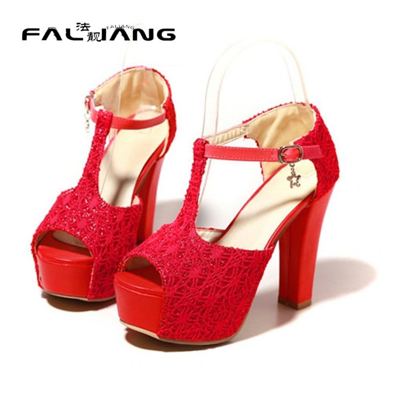 ФОТО Stylish Womens Lace Peep Toe T-Strap Strap Chunky High Heel Platform Sandals Shoes Plus Size US4.5-10.5