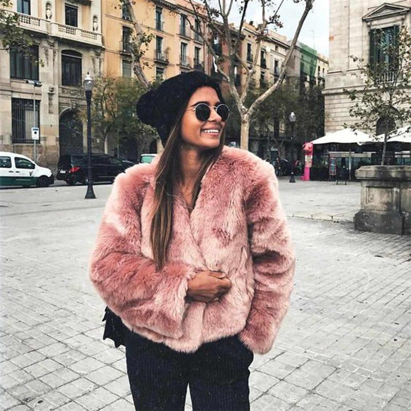 2018 Must Have розовый искусственный мех пальто с длинным рукавом утолщенные теплые зимние куртки пальто Женская мода уличная кардиганы верхняя одежда