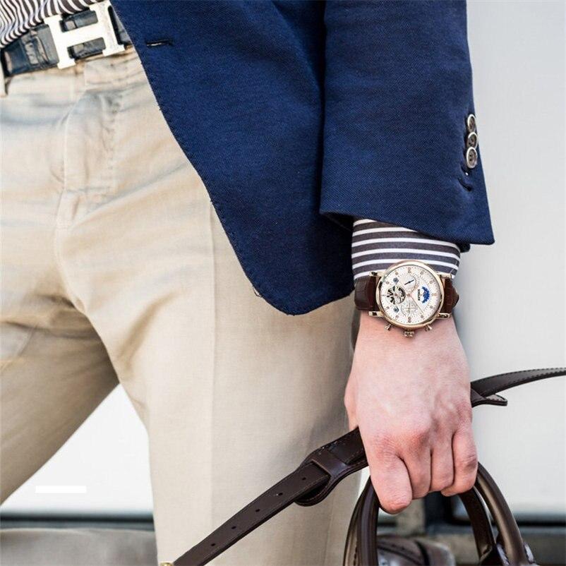 BINSSAW montre mécanique hommes Sport Tourbillon automatique Top luxe marque Relojes Hombre cuir Phase de lune montres relogio - 5