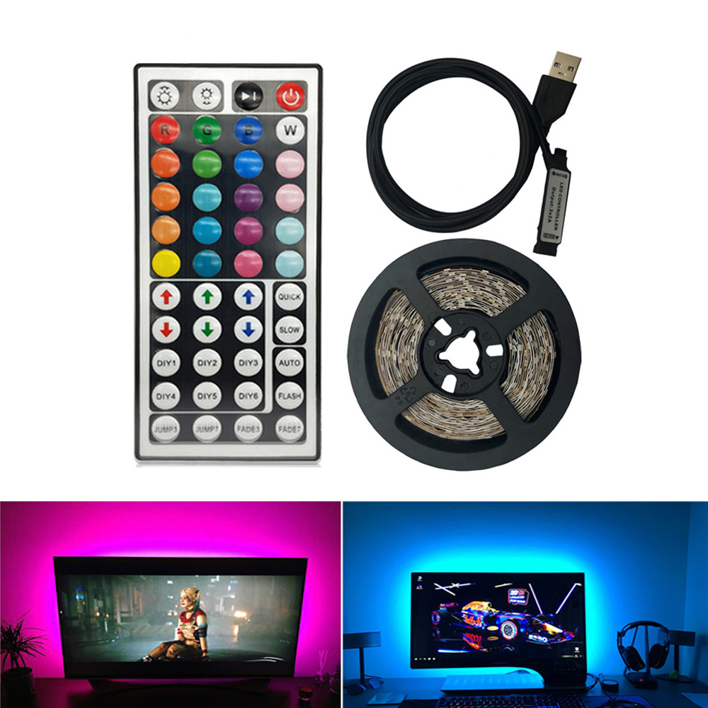 44 Keys USB Led Light Strip DC 5V SMD 2835 60Leds/m Led Strip HDTV TV Desktop PC Screen Backlight Bias Lighting 1M 2M 3M 4M 5M