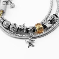 URIZONS Kablolu Kulaklik Charms Beads STAR Bracelet Earphones Silver PU Braided Headsets For iphone Android Xmas Gift 10PCS/Lot