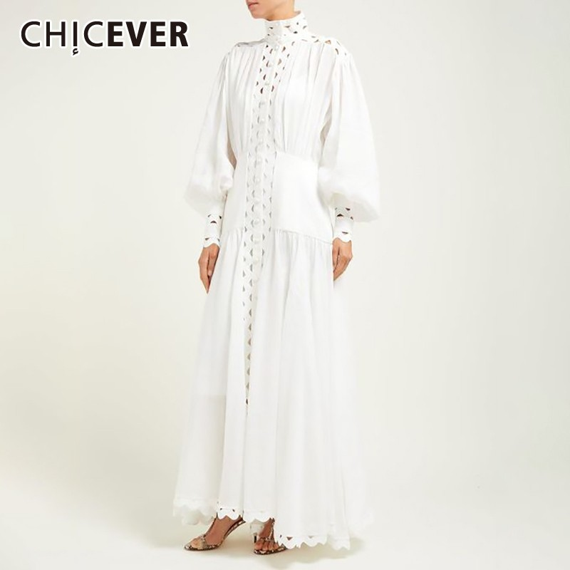 CHICEVER Summer Hollow Out Women Dress Stand Collar Lantern Sleeve High Waist Slim Ankle Length Dresses