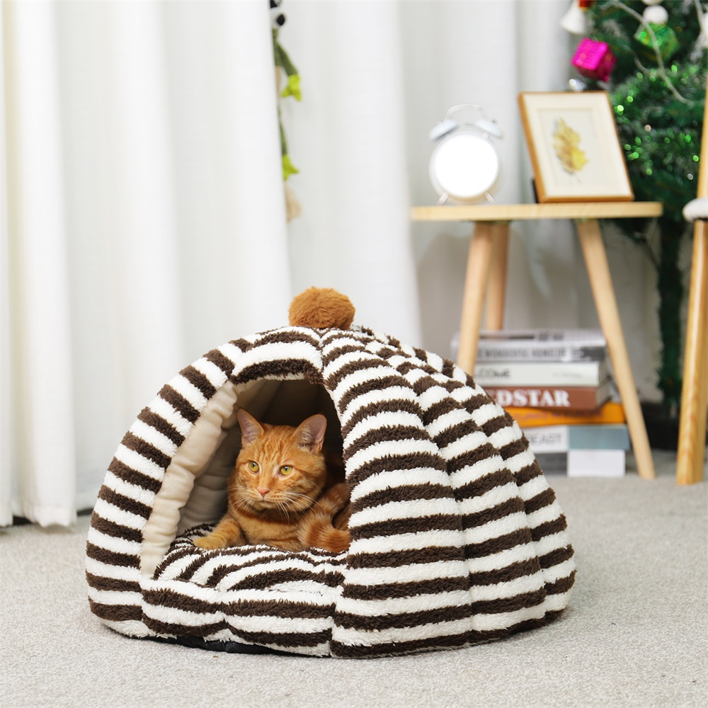 Super Warm Cat Cave  Winter Warm Kitten Puppy Sleeping Bed With Cushion Tent  Small Dogs Cat House Kennels Chihuahua Bed Pad