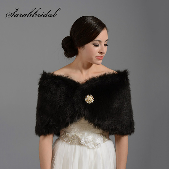 Hot 2017 Black Faux Fur Stole Women Wedding Jackets Wraps Bridal