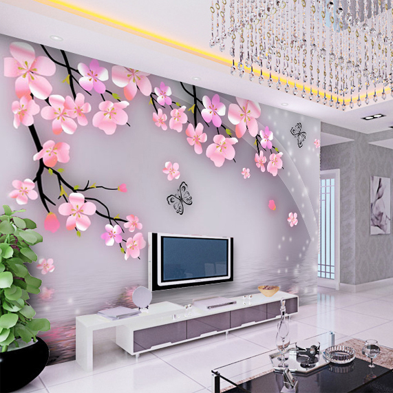 tv wall korean bedroom living unit 3d background fabric designs wallpapers woven non den paper backdrop custom decor walls flower