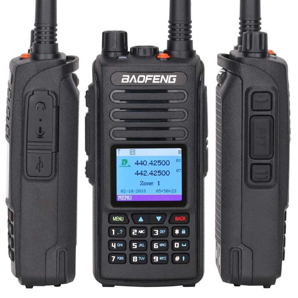2020 Baofeng DMR DM-1702 (GPS) Walkie Talkie VHF UHF de banda Dual ranura de tiempo Dual de nivel 1 y 2 Digital/analógico Ham Radio HF receptor