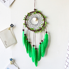 Ручной работы зеленый Декоративные Ловец снов стены висящий мечтатель перо ремесла дети вещи стены комнаты домашний декор колокольчиков