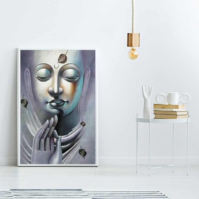 Бант статуя Будды для медитации холст живопись черный и белый современный буддийский декоративный Плакат Украшение дома настенные художественные картины