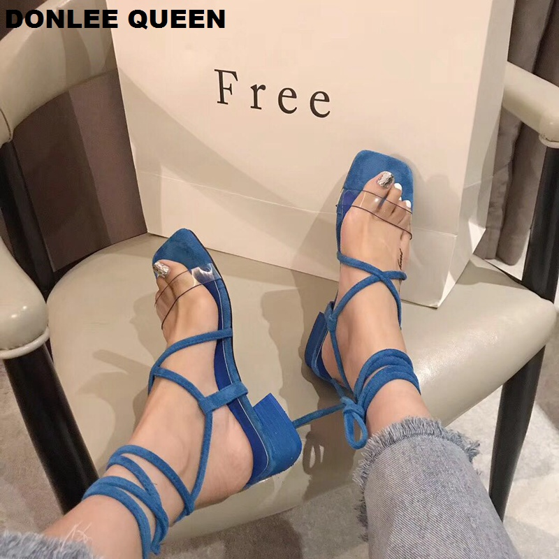 2019 New Women Low Heel Sandals Sexy Transparent PVC Shoe Lace Up Cross-tie Gladiator Ankle Strap Sandal Elegant sandalias mujer