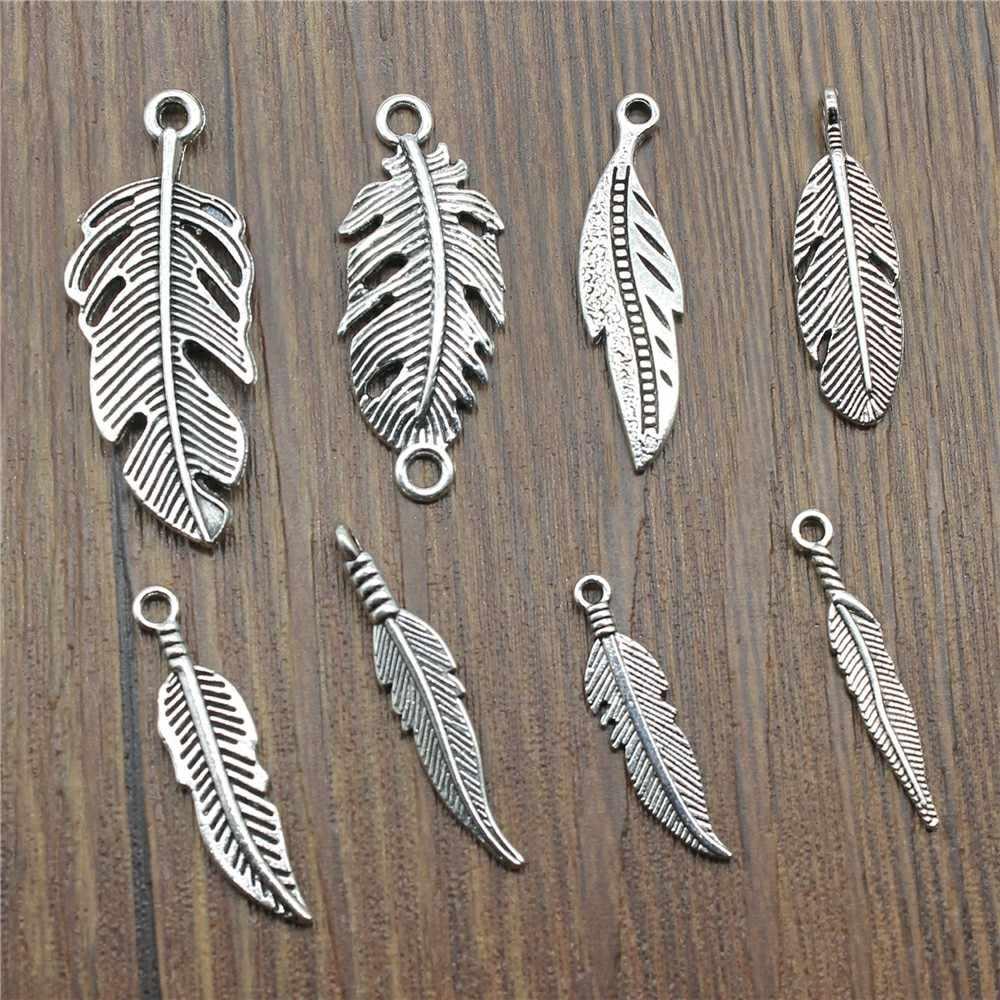 15 шт/партия украшения с перьями Подвески с перьями украшения с перьями для изготовления браслетов античный серебряный цвет