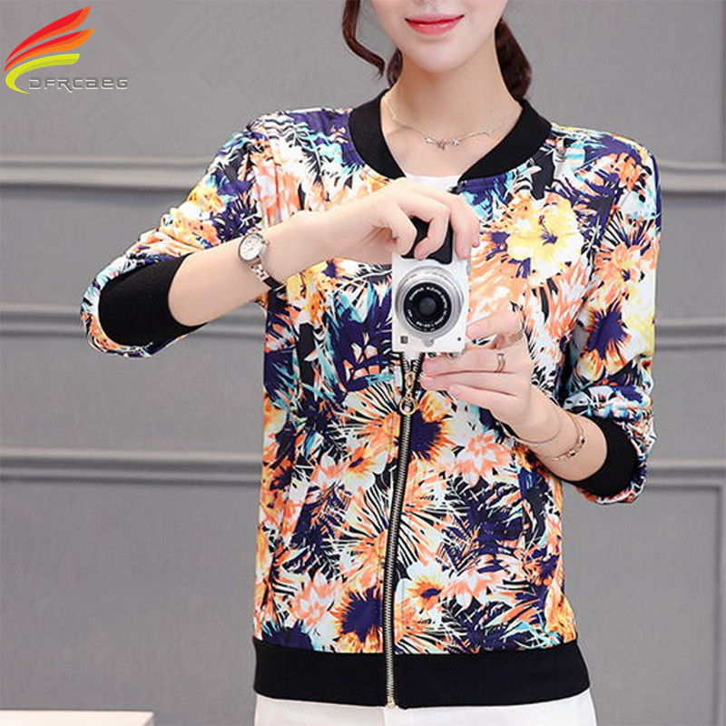 Hot New Arrival 2018 Spring Floral Print Women   Basic   Coats Long Sleeve   Jacket   Feminino Jaqueta Feminina Casual Plus Size Outwear
