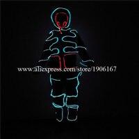 Лидер продаж подсветкой костюмы с маской светящиеся Одежда для танцев супер яркий EL Провода робот Костюмы Light Up EL Провода Одежда для танцев