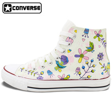 Custom Hand Painted Converse Shoes Original Design Birds' Twitter Fragrance of Flowers High Top Canvas Sneakers Men Women Gifts