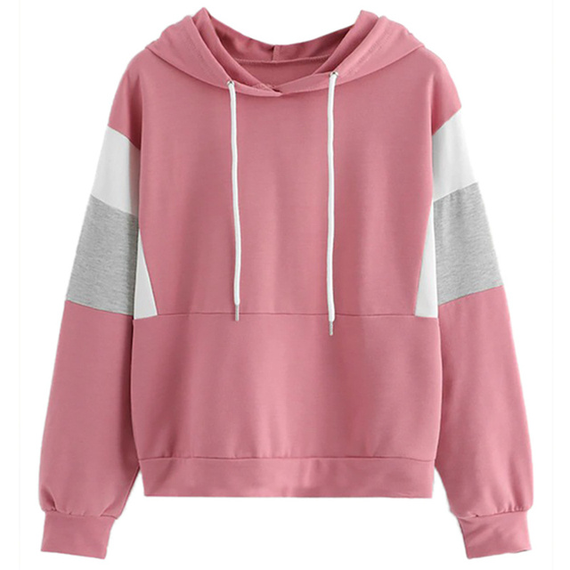 399e4958638 New Women Patchwork Sequins Sweatshirt Drawstring Hoodies 2018 Autumn Women  Fashion Clothes Pink Long Sleeve Oversized Hoodie X2