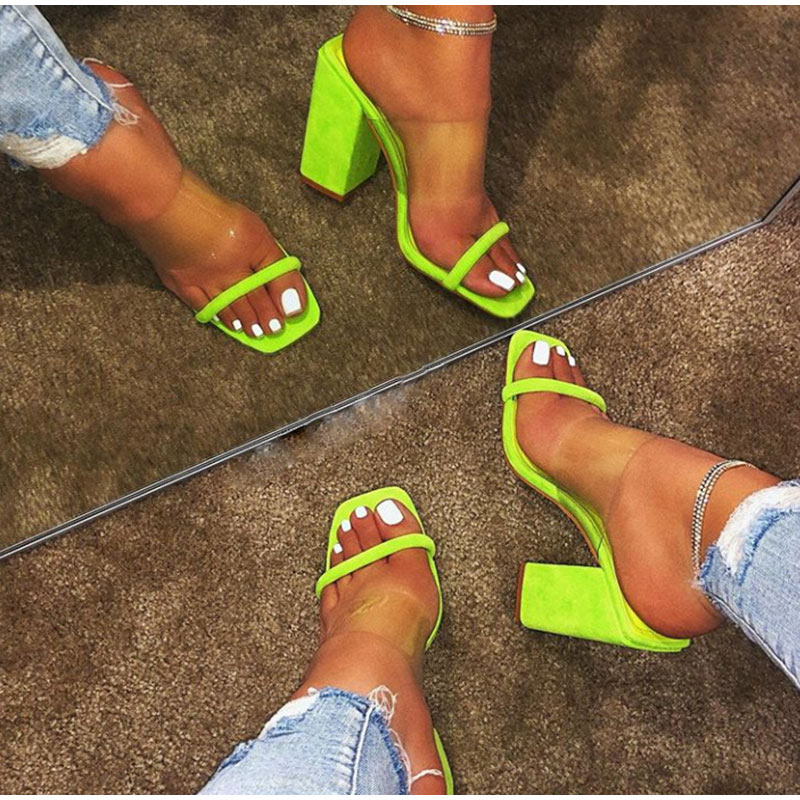 HTB1SBJfeEGF3KVjSZFoq6zmpFXaC MCCKLE Women Transparent Sandals Ladies High Heel Slippers Candy Color Open Toes Thick Heel Fashion Female Slides Summer Shoes