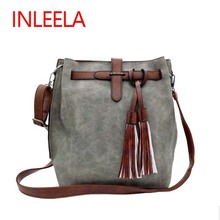 Inleela Fashion Scrub Women Bucket Bag Vintage Tassel Messenger Bag Large Retro Shoulder Bag Simple Crossbody Bag