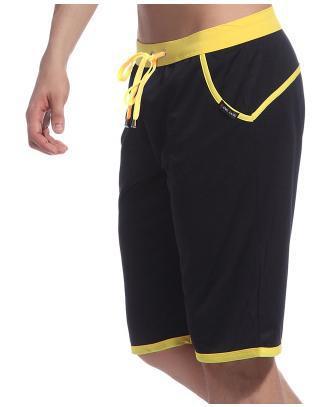WJ Летние повседневные спортивные шорты, мужские брюки, эластичные Брендовые мужские капри, модные облегающие спортивные шорты длиной до колен, быстросохнущие шорты для тренировок - Цвет: Черный