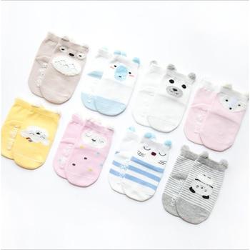 0665ce657 4 par/lote bebé antideslizante calcetines de las niñas niños calcetín 100%  algodón de dibujos animados animal recién nacido para niños bebés Accesorios