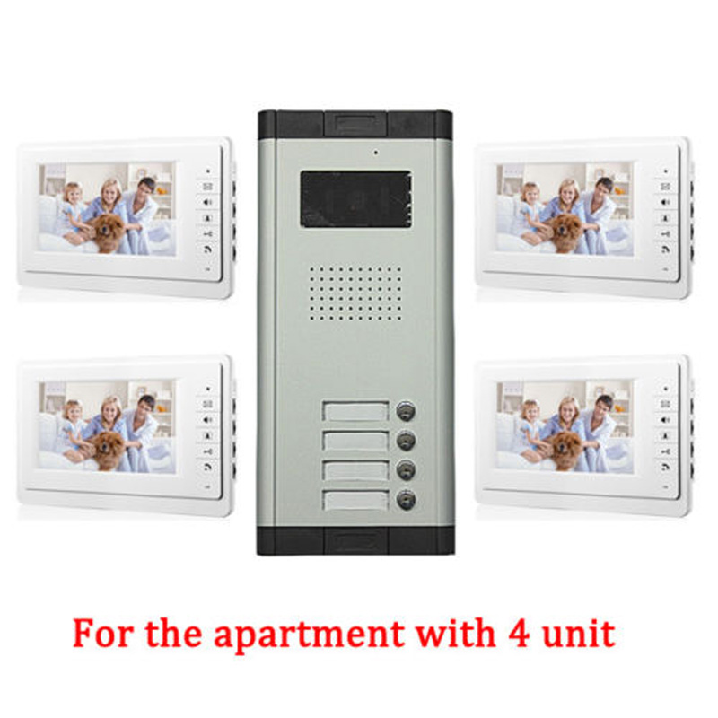 Apartment 4 Unit Intercom Entry System Wired Video Door Phone Audio Visual 7 inch TFT LCD Monitor apartment 5 unit intercom entry system wired video door phone audio visual
