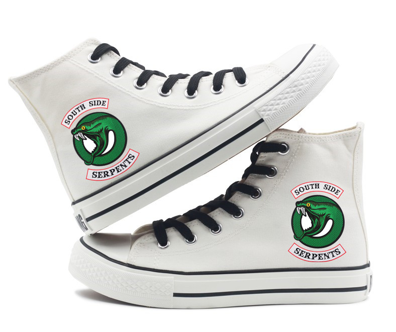 Riverdale South side serpents printing canvas shoes Men Women Boys Girls Unisex high-top flat canvas shoes Black White Color