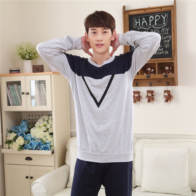 2017 autumn thick section of long-sleeved manure plus fat yards pajamas men's clothing gray pajamas