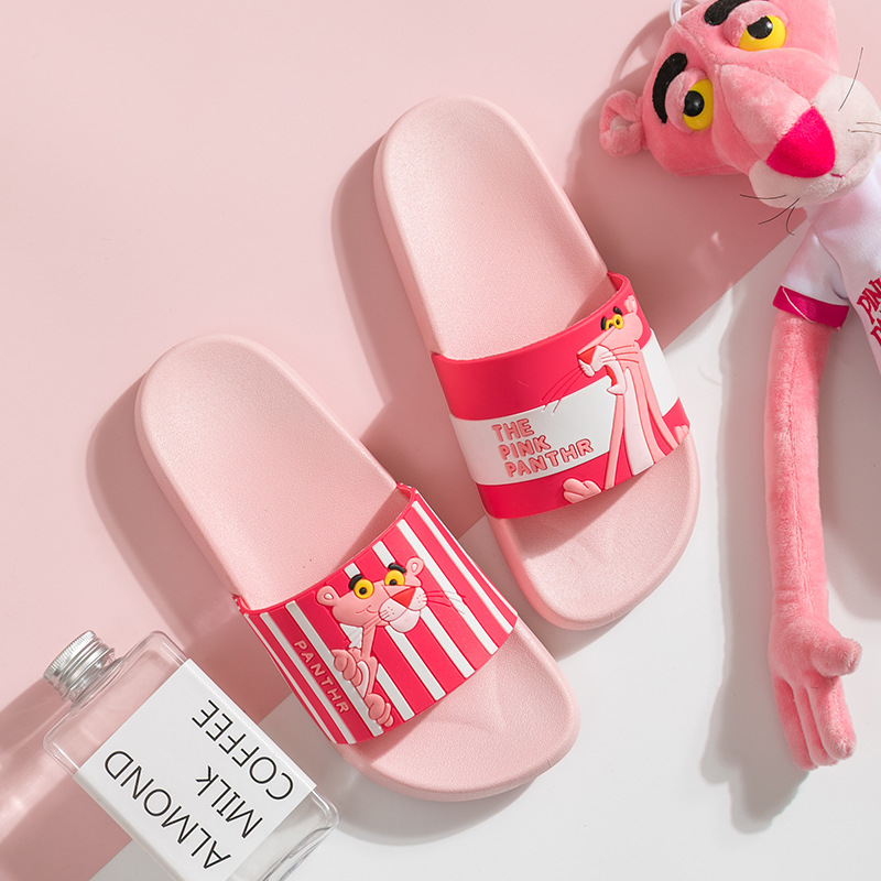 Cartoon Pink Panther slippers women slates Summer beach slides Non-slip ladies flip flops home women slippers Bathroom flats(China)