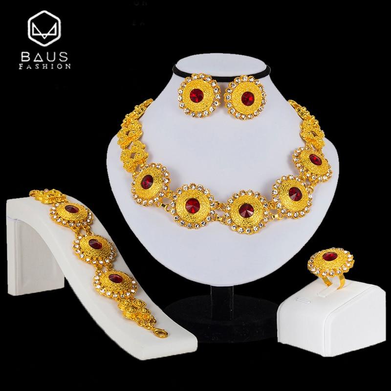 Hot Sale Baus Ethiopian Jewelry Dubai Gold Color Jewelry Sets