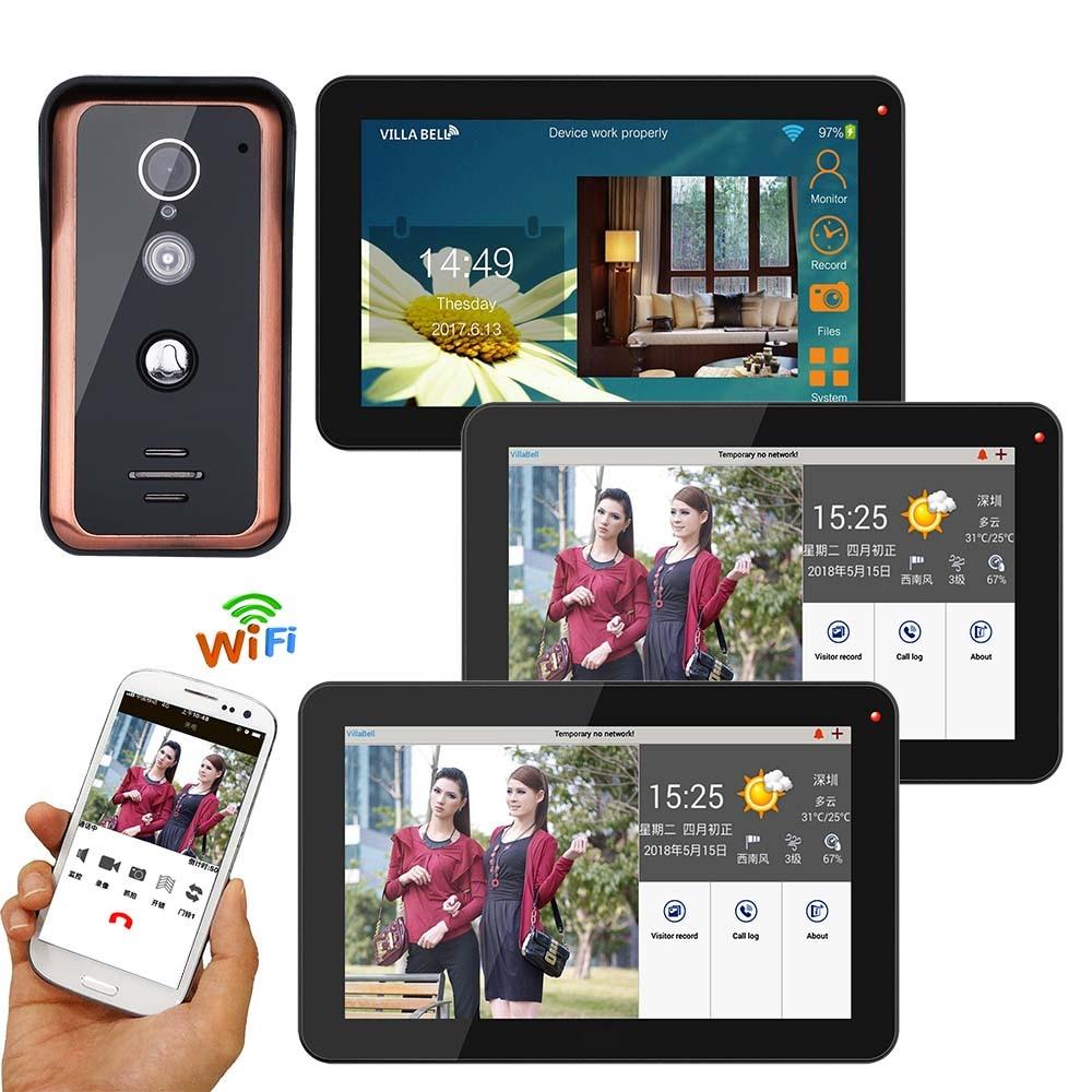 9 Inch 3 Monitors Wired Wifi Video Door Phone Doorbell Intercom Entry System Support Remote APP Unlocking Recording Snapshot