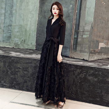 Luxury Lace Evening Gown 2020 Formal Dress Sexy V Neck Half Sleeves A Line Elegant Evening Dresses LYFY125
