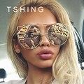 2017 New Fashion Cat Eye Негабаритных Большой Круглый Солнцезащитные Очки Женщины Суперзвезда Марка Дизайнер Леди Розовое Золото Зеркало Солнцезащитные Очки Женщина