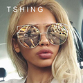 2017 New Fashion Cat Eye Oversized Big Round Sunglasses Women Superstar Brand Designer Lady Rose Gold Mirror Sun Glasses Female