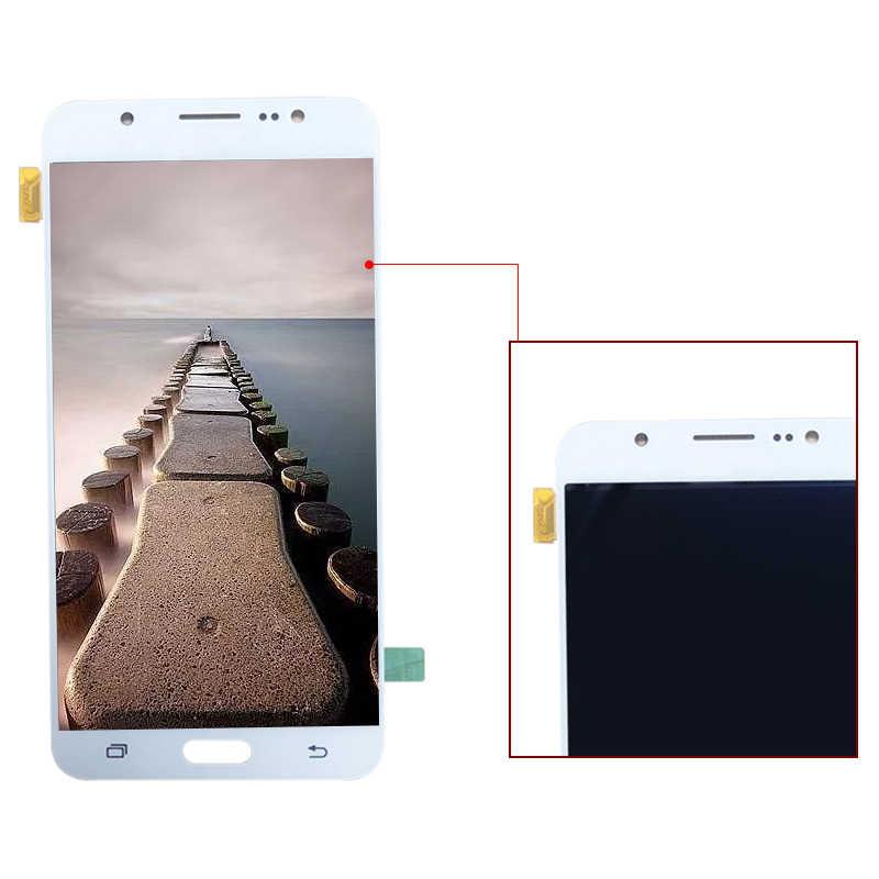 AMOLED LCD สำหรับ Samsung J7 2016 J710 J710F J710M J710H J710FN Full Touch Screen Digitizer Sensor Glass + จอแสดงผล LCD assembly