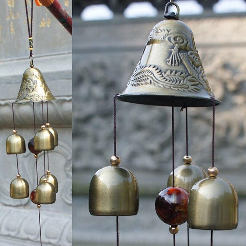 Hanging Wind Chimes Bells 60cm/23.62inches Copper 6xBells Outdoor Yard Garden Home Garden Doors Ornament Decoration