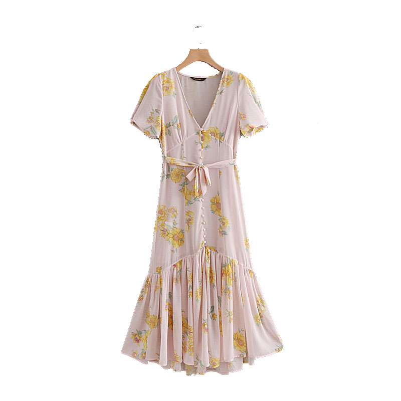 QZ550 Fashion women sweet yellow floral print v neck buttons deco short sleeve beach dress ladies summer bottom pleated holiday